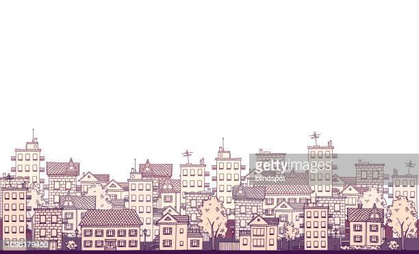 ilustrações de stock, clip art, desenhos animados e ícones de cityscape - bairro antigo