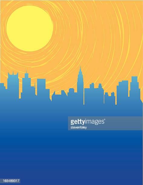 cityscape - heatwave stock illustrations