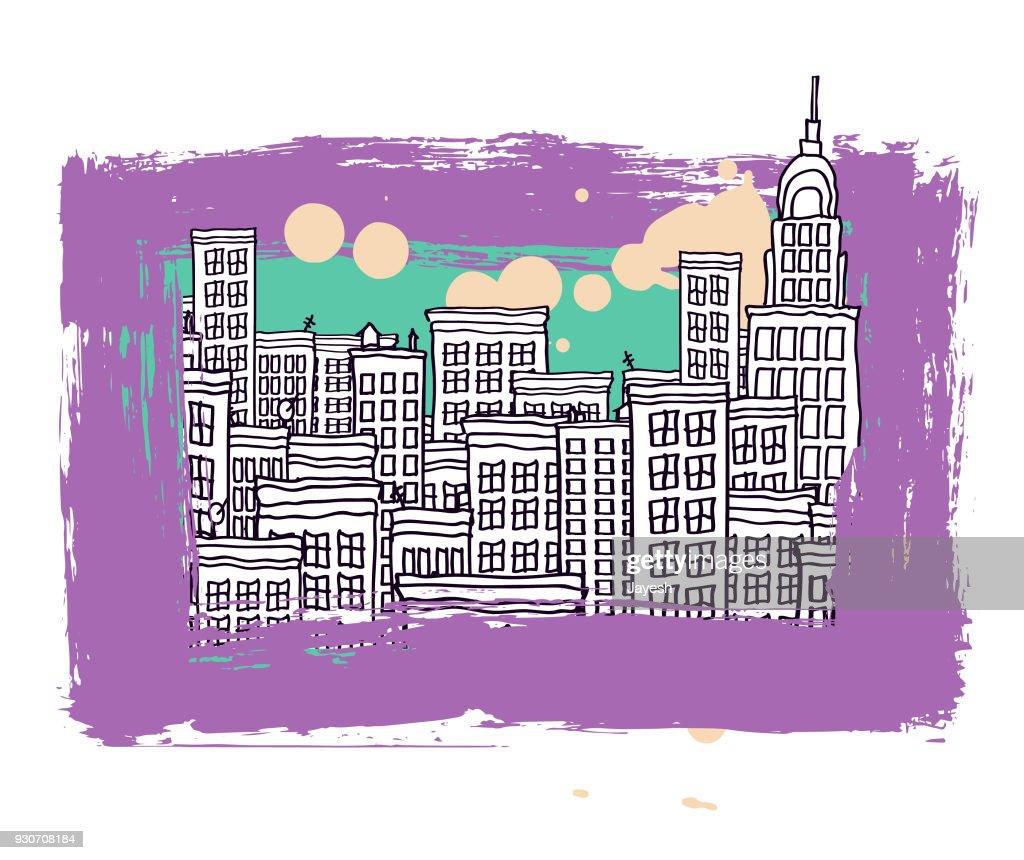 Cityscape vector illustration : stock illustration