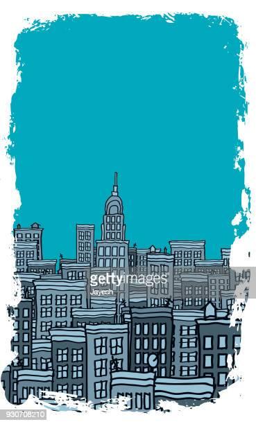 cityscape vector illustration - house rental stock illustrations, clip art, cartoons, & icons