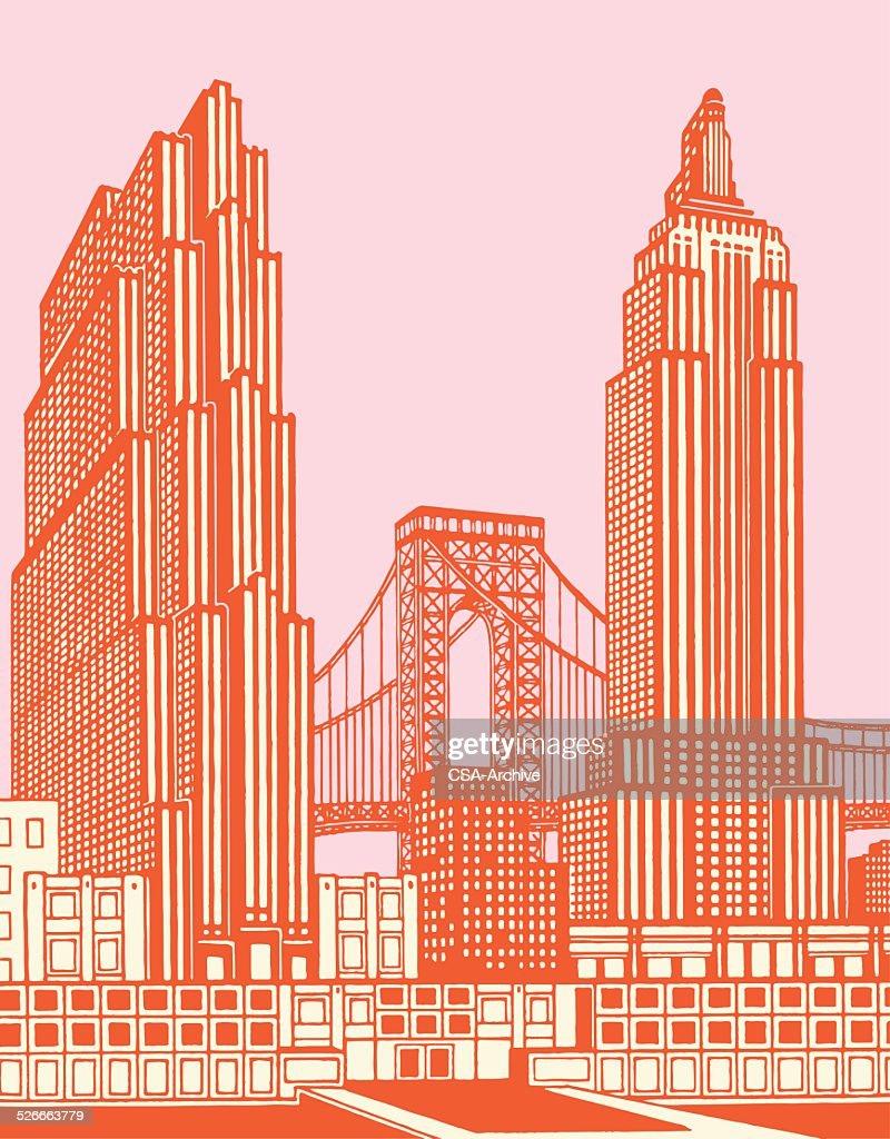 Cityscape With Bridge : stock illustration