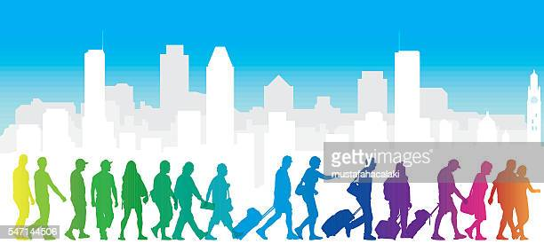 cityscape with colourful tourist silhouettes - business travel stock illustrations, clip art, cartoons, & icons