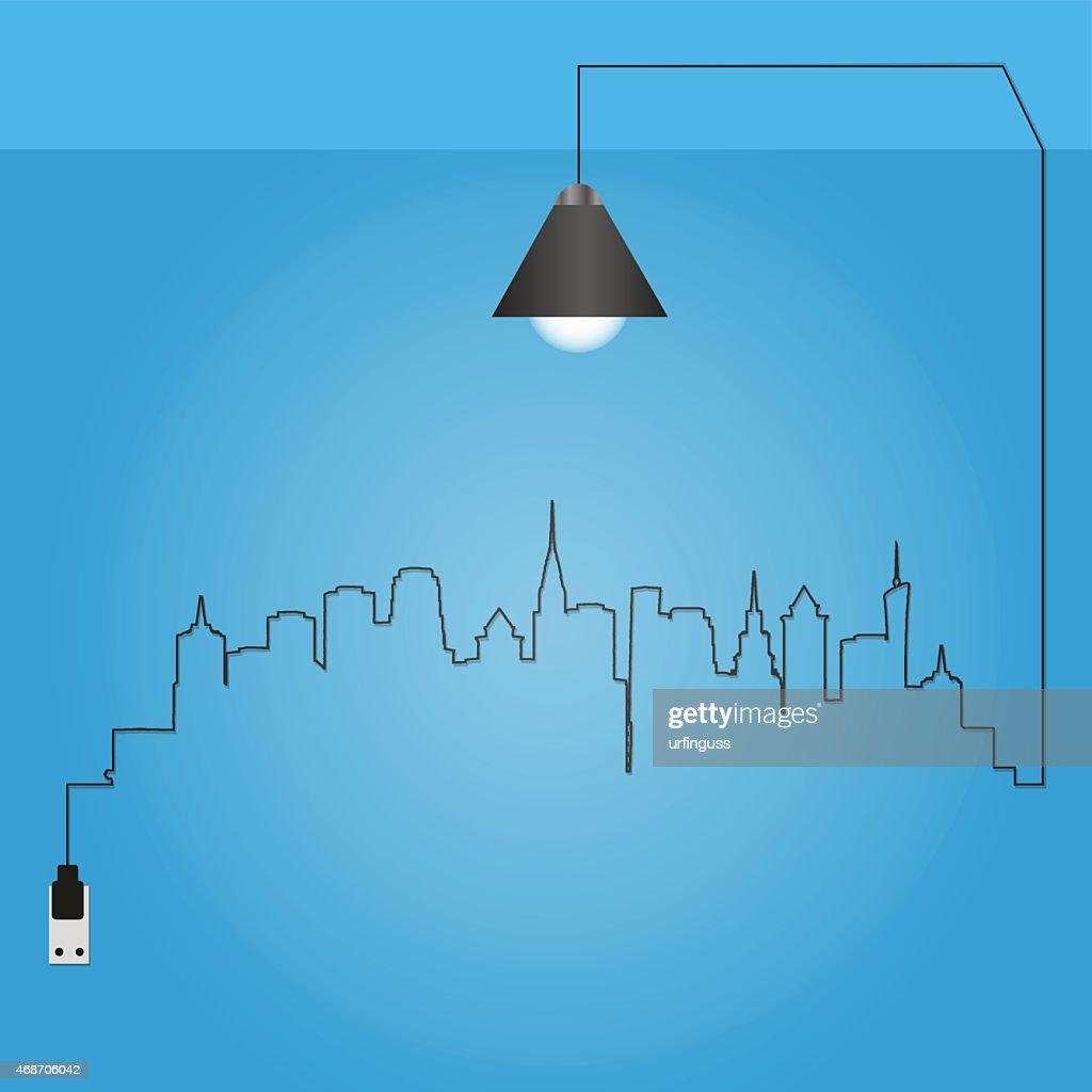 Cityscape With Creative Wire Light Bulb Idea Concept Vector Art ...