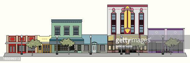 cityscape with theater - downtown district stock illustrations