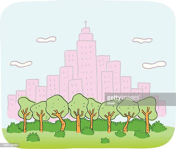 Cityview and nature cartoon