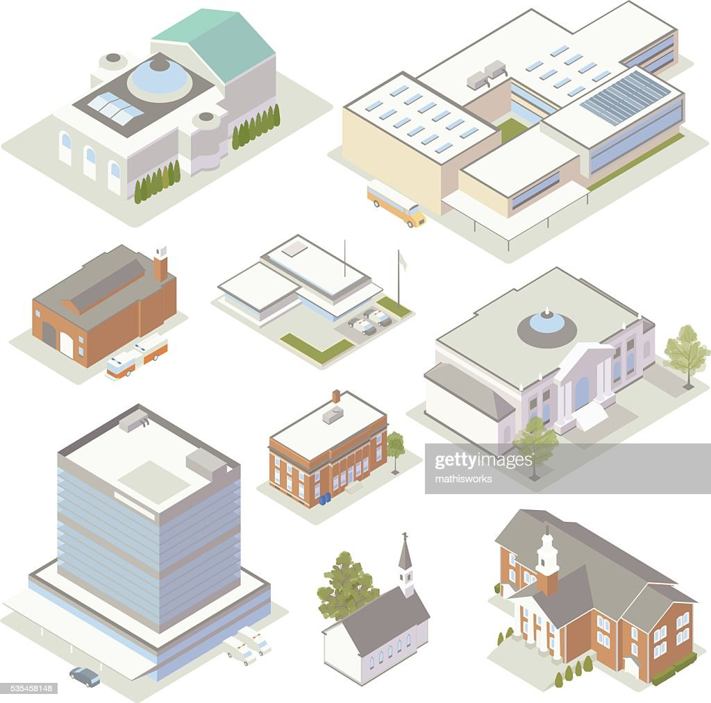 Civic and Community Buildings Illustration : Vector Art