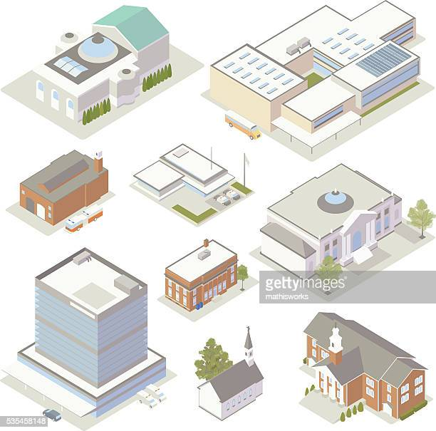 civic and community buildings illustration - library stock illustrations