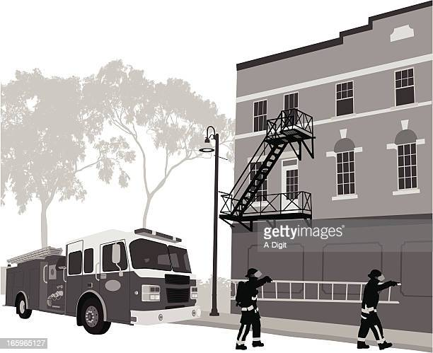 civic duty vector silhouette - fire engine stock illustrations, clip art, cartoons, & icons
