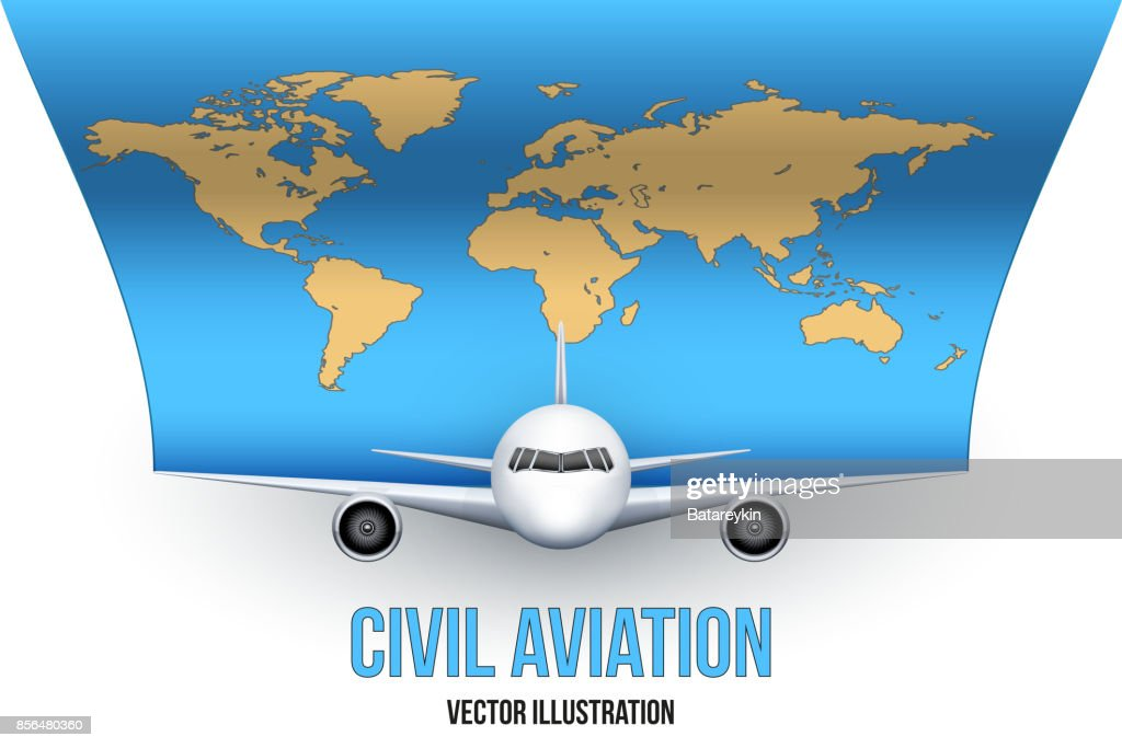 Civil Aircraft with world map