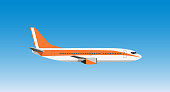 Civil aviation travel passenger air plane vector illustration.