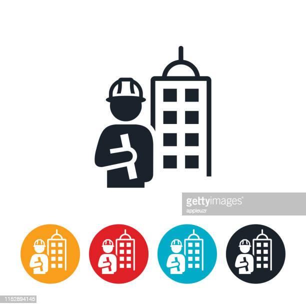ilustraciones, imágenes clip art, dibujos animados e iconos de stock de icono de ingeniero civil - ingeniero civil