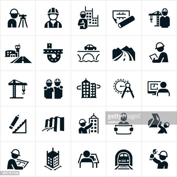 civil engineering icons - building contractor stock illustrations