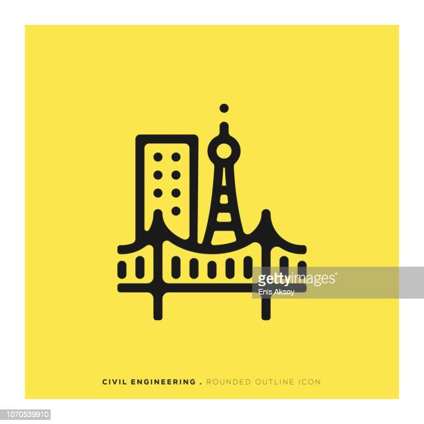 civil engineering rounded line icon - civil engineering stock illustrations