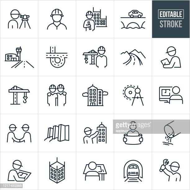 civil engineering thin line icons - editable stroke - built structure stock illustrations