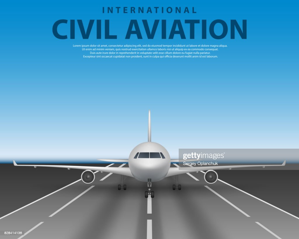 Civil passenger airliner jet on runway. Commercial realistic airplane concept front view. Plane in blue sky, travel agency advertisement poster design