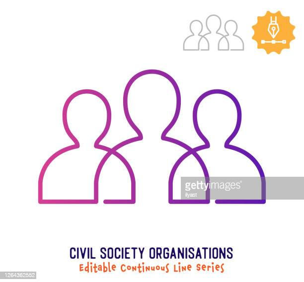 civil society continuous line editable stroke icon - employee engagement stock illustrations