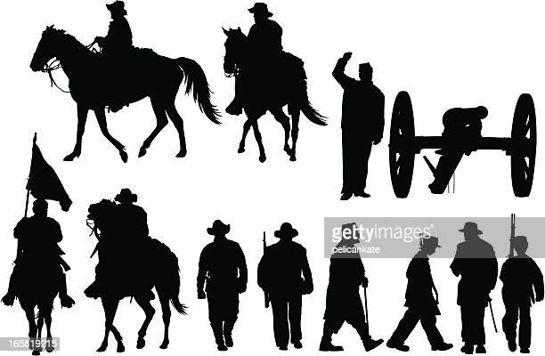 civil war silhouettes - military personnel stock illustrations, clip art, cartoons, & icons