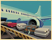 civilian aircraft and baggage old poster
