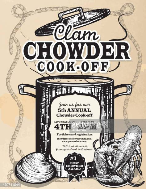 Clam Chowder cookoff event invitation design template