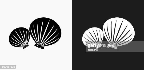 Clams Icon on Black and White Vector Backgrounds