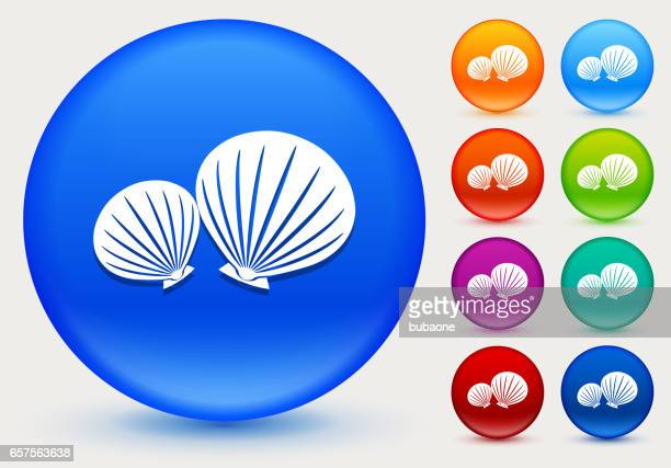 Clams Icon on Shiny Color Circle Buttons