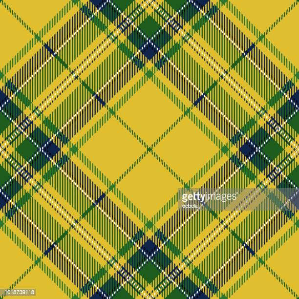 clan stewart yellow scottish tartan plaid - tartan stock illustrations