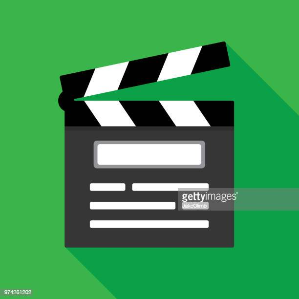 clapboard icon flat 2 - film studio stock illustrations, clip art, cartoons, & icons