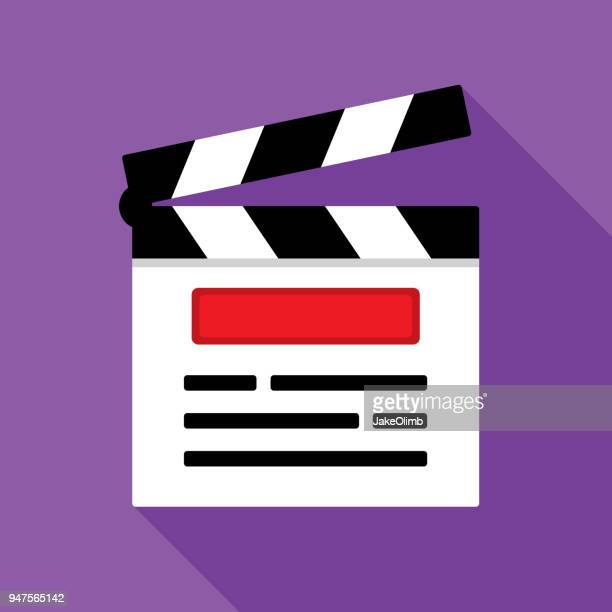 clapboard icon flat - producer stock illustrations, clip art, cartoons, & icons