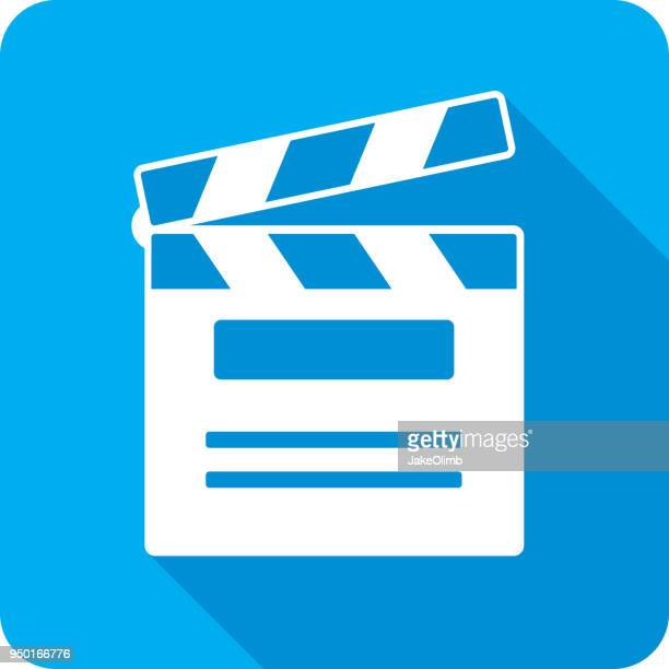 clapboard icon silhouette - film studio stock illustrations, clip art, cartoons, & icons