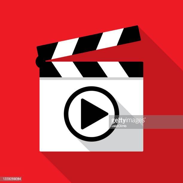 ilustraciones, imágenes clip art, dibujos animados e iconos de stock de botón de reproducción de clapboard 2 - claqueta de cine