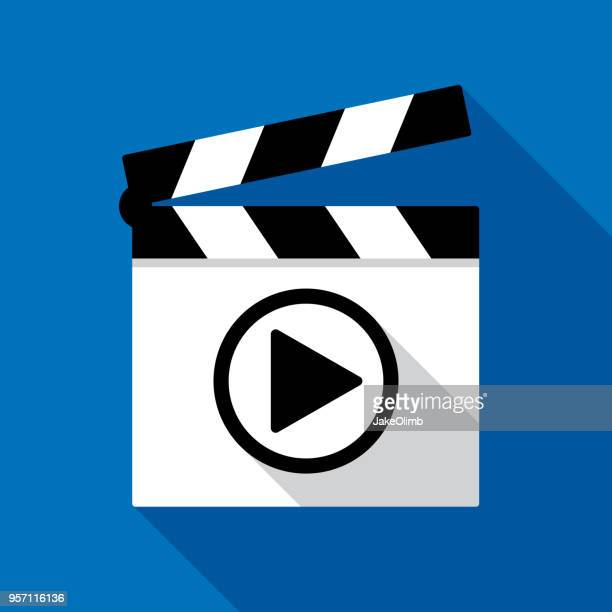 clapboard play button icon flat - actor stock illustrations