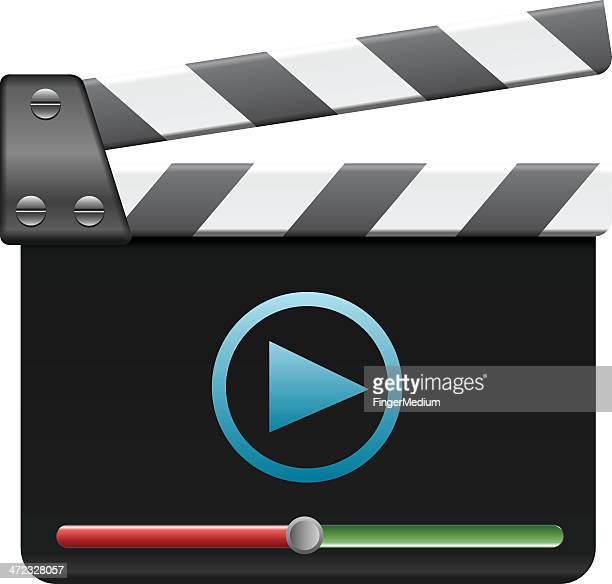 clapboard with player - producer stock illustrations, clip art, cartoons, & icons