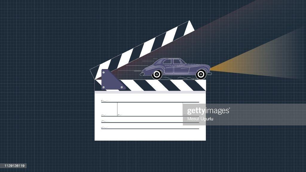 Clapper board and car scene : stock illustration