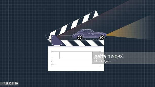 clapper board and car scene - film studio stock illustrations, clip art, cartoons, & icons