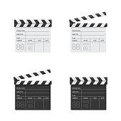 Clapper board black and white illustration