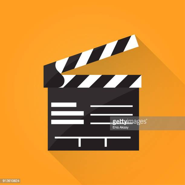 clapperboard flat icon - film stock illustrations, clip art, cartoons, & icons