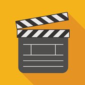 clapperboard icon with long shadow. flat style vector illustrati