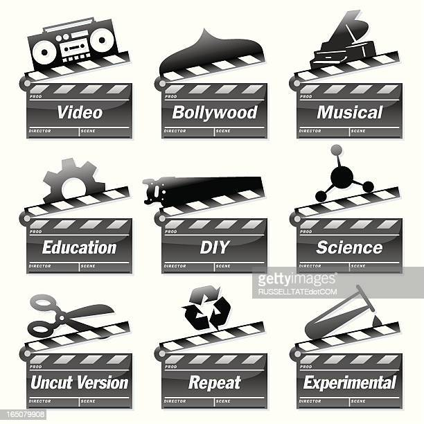 clapperboard tv - producer stock illustrations, clip art, cartoons, & icons