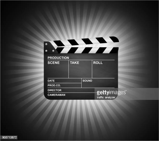 ilustraciones, imágenes clip art, dibujos animados e iconos de stock de clapperboard - claqueta de cine