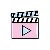 clapperboard with video movie studio icon