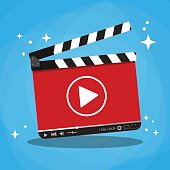 clapperboard with video web streaming player