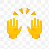 Clapping Hands with Crossed Fingers on Transparent Background. Isolated Vector Illustration