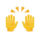 Clapping Hands with Crossed Fingers on White Background