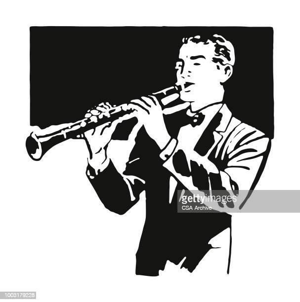 ilustraciones, imágenes clip art, dibujos animados e iconos de stock de clarinete reproductor de - clarinete