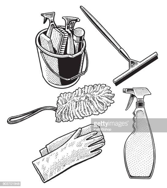 class cleaning equipment - washing up glove stock illustrations, clip art, cartoons, & icons