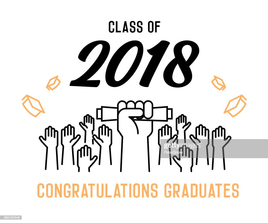 Class of 2018 Congratulations graduates cover design. Vector illustration for party invites, banners, backgrounds