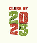 Class of 2025 Concept Stamped Word Art Illustration
