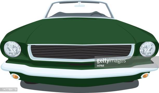 classic 1965 mustang -  front - vehicle hood stock illustrations, clip art, cartoons, & icons