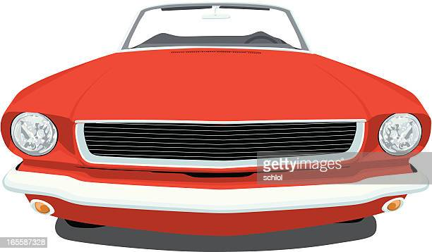 classic 1965 mustang - vehicle hood stock illustrations, clip art, cartoons, & icons