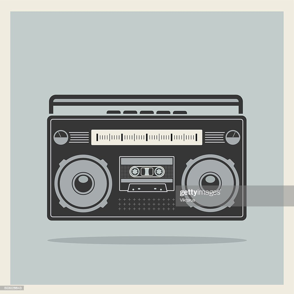 Classic 80s Boombox Cassette Player on Retro Background Vector